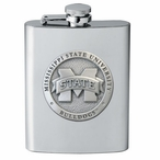 Mississippi State Bulldogs Logo Stainless Steel Flask w/ Pewter Accent