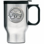 Mississippi State Bulldogs Logo Travel Mug with Handle & Pewter Accent