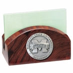 Mississippi State Bulldogs Logo Wood Business Card Holder with Pewter