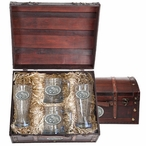 Mississippi State Bulldogs Pewter Accent Beer Chest Box Set