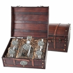 Mississippi State Bulldogs Pewter Accent Capitol Decanter Chest Set