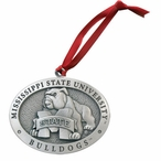 Mississippi State Bulldogs Pewter Accent Ornaments, Set of 2
