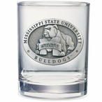Mississippi State Bulldogs Pewter Double Old Fashion Glasses, Set of 2