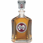 Mississippi State Bulldogs Red Logo Capitol Glass Decanter with Pewter