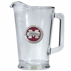 Mississippi State Bulldogs Red Logo Glass Pitcher with Pewter Accent