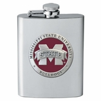 Mississippi State Bulldogs Red Logo Stainless Steel Flask with Pewter