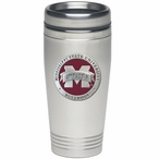 Mississippi State Bulldogs Red Logo Travel Mug with Pewter Accent