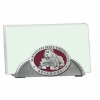Mississippi State Bulldogs Red Metal Business Card Holder with Pewter