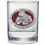 Mississippi State Bulldogs Red Pewter Accent DOF Glasses, Set of 2