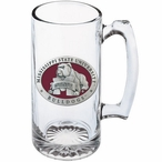 Mississippi State Bulldogs Red Pewter Accent Glass Super Beer Mug
