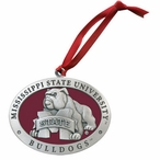 Mississippi State Bulldogs Red Pewter Accent Ornaments, Set of 2