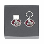 Mississippi State Bulldogs Red Pewter Money Clip & Key Chain Gift Set