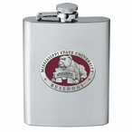 Mississippi State Bulldogs Red Stainless Steel Flask w/ Pewter Accent