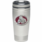 Mississippi State Bulldogs Red Stainless Steel Travel Mug with Pewter