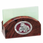Mississippi State Bulldogs Red Wood Business Card Holder with Pewter