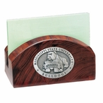 Mississippi State Bulldogs Wood Business Card Holder w/ Pewter Accent