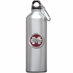 Mississippi State Logo Red Pewter Accent Stainless Steel Water Bottle