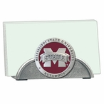 Mississippi State Red Logo Metal Business Card Holder w/ Pewter Accent