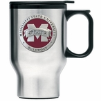 Mississippi State Red Logo Travel Mug with Handle & Pewter Accent