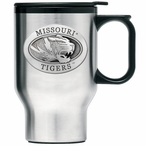 Missouri Tigers Stainless Steel Travel Mug with Handle & Pewter Accent
