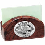 Missouri Tigers Wood Business Card Holder with Pewter Accent