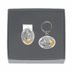 Missouri Tigers Yellow Pewter Accent Money Clip & Key Chain Gift Set