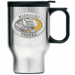 Missouri Tigers Yellow Stainless Steel Travel Mug with Handle & Pewter