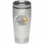 Missouri Tigers Yellow Stainless Steel Travel Mug with Pewter Accent