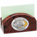 Missouri Tigers Yellow Wood Business Card Holder with Pewter Accent