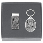 Moose Money Clip & Key Chain Gift Set with Pewter Accents