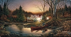 Morning Solitude LED Lighted Wrapped Canvas Giclee Art Print Wall Art