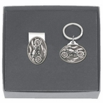 Motorcycle Money Clip & Key Chain Gift Set with Pewter Accents