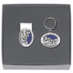 Mount Rushmore Blue Money Clip & Key Chain Gift Set w/ Pewter Accents