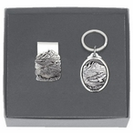 Mountain Scene Money Clip & Key Chain Gift Set with Pewter Accents