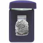 Mountain Scene Steel Money Clip with Pewter Accent