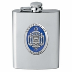 Navy Midshipmen Blue Crest Stainless Steel Flask with Pewter Accent