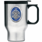Navy Midshipmen Blue Crest Travel Mug with Handle & Pewter Accent