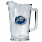 Navy Midshipmen Blue Glass Pitcher with Pewter Accent