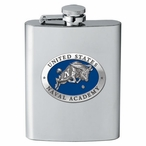 Navy Midshipmen Blue Stainless Steel Flask with Pewter Accent