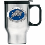 Navy Midshipmen Blue Stainless Steel Travel Mug with Handle & Pewter