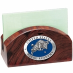 Navy Midshipmen Blue Wood Business Card Holder with Pewter Accent