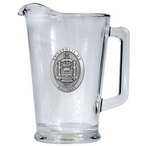 Navy Midshipmen Crest Glass Pitcher with Pewter Accent