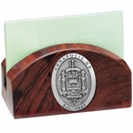 Navy Midshipmen Crest Wood Business Card Holder with Pewter Accent