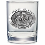Navy Midshipmen Pewter Accent Double Old Fashion Glasses, Set of 2