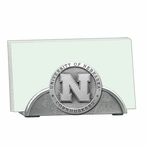 Nebraska Cornhuskers Metal Business Card Holder with Pewter Accent