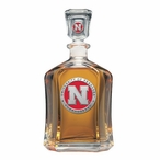 Nebraska Cornhuskers Red Capitol Glass Decanter with Pewter Accents