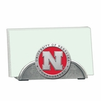 Nebraska Cornhuskers Red Metal Business Card Holder with Pewter Accent