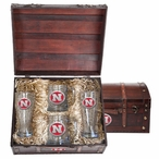 Nebraska Cornhuskers Red Pewter Accent Beer Chest Box Set