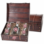 Nebraska Cornhuskers Red Pewter Accent Capitol Decanter Chest Set