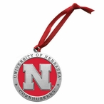 Nebraska Cornhuskers Red Pewter Accent Ornaments, Set of 2